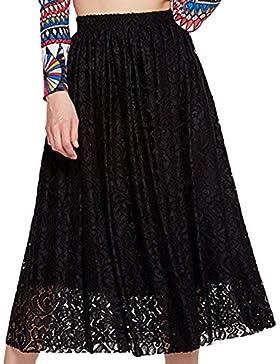Faldas Encaje Mujeres Cintura Elástica Color Puro Midi Elegante Slim Fit Verano Plisada