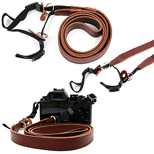 lightweight-genuine-brown-leather-vintage-neck-shoulder-belt-strap-with-adjustable-length-for-veho-v