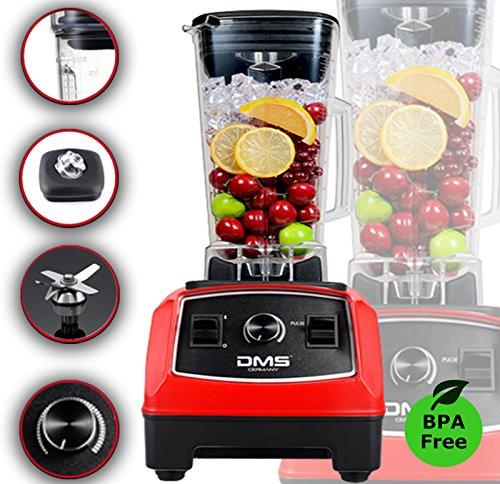 DMS® Professioneller Hochleistungsmixer Power Blender Gastro Blender Universal Standmixer Smoothie Maker 2000 Watt 32.000 U/Min, 2 Liter, Ice Crusher, BPA Frei Rot.