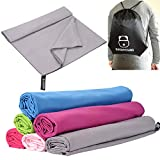 BOOMYOURS Microfibre Quick Dry Towel for Travel,Sports,Gym,Yoga,Swimming,Beach (Large /Lightweight /Highly Absorbent /Compact /Soft Microfibre)Includes FREE Sports Drawstring Bag -Grey