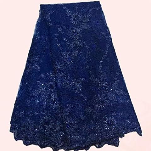 Nueva tela de alta calidad azul de encaje bordado con lentejuelas de tela neta francés del organza de QN9-6 vestido