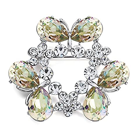 "Swarovski Elements Champagne Colour ""Fantaisie"" Brooch Rhodium Plated - Ideal Gift for Women and Girls - Comes In Gift Box"