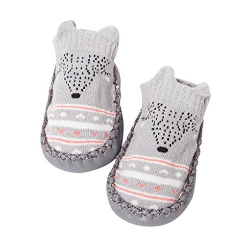borenes Babyschuhe Mädchen Jungen Anti-Slip Socken Slipper Stiefel(0-6 Monate,Grau) (Mädchen Stiefel Größe 3)
