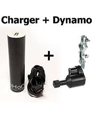 eharv E1Ladegerät–Fahrrad USB-Ladegerät für Dynamo–Laden Handy (iPhone, Android Phone), Kamera (GoPro), GPS während Radfahren, Karbonfaser-Charger mit Fahrrad Nabendynamo–Fahrrad Zubehör für unterwegs auf dem Bike–wasserdicht Dynamo Ladegerät