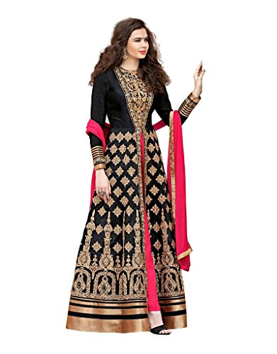 Rivera Sarees Beautiful Banglori Silk Black Anarkali Salwar Kameez