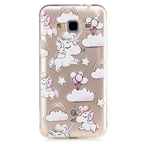 MUTOUREN Silicone Bumper souple Samsung Galaxy J3 J310 - Licorne unicorn Cheval mignon CASE Case Cover Housse TPU Design-La Licorne Les nuagesarc-en-ballon