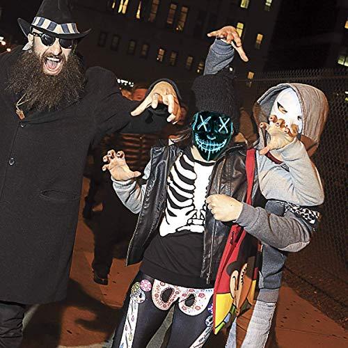 BangShou Halloween LED Máscaras Purga de Máscaras de Halloween Craneo Esqueleto Mascaras para la Navidad Halloween Cosplay Grimace Festival Party Show (Azul)