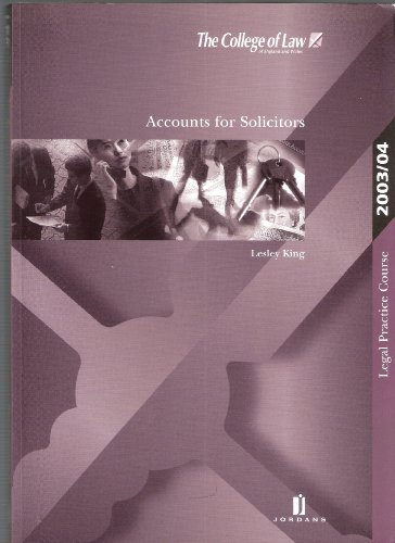 Accounts for Solicitors 2003/2004 (Lpc Resource Books) por L King