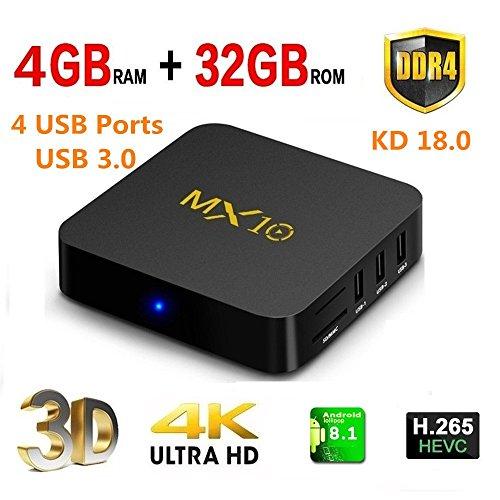 Timmery 2018Smart TV-Box  MX10, 4GB DDR432GB, Android 8.1m H.265, unterstützt 64bit, Wireless, 4K (60Hz), 3D, RK3328Quad Core, Set-Top-Box