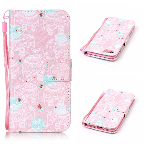 Voguecase® für Apple iPhone SE 5 5S 5G hülle,(Rose/Turm 01) Kunstleder Tasche PU Schutzhülle Tasche Leder Brieftasche Hülle Case Cover + Gratis Universal Eingabestift Elefanten 12