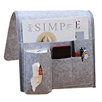 THETAG Bedside Pocket, Felt Bedside Caddy Hanging Storage Organizer for Phone, Book, Tablet, Pen, Remote, Glasses, Room Accessories Perfect for Bunk Beds or Sofa (Grey)