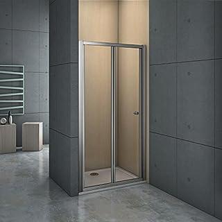 Aica Chrome 860mm Bifold Shower Enclosure Toughened Glass Door Panel, Metal, 86 x 2.6 x 185 cm