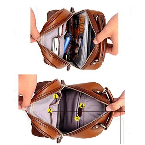 YAAGLE vintage leder Rucksack damen Schulmädchen praktisch Schultertasche England - Stil Backpack beige