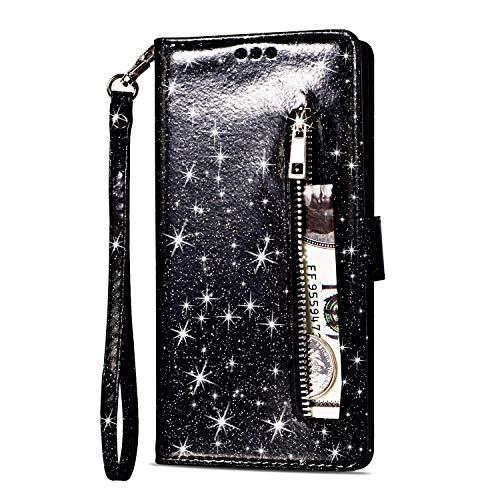Artfeel Reißverschluss Brieftasche Hülle für Samsung Galaxy S9 Plus, Bling Glitzer Leder Handyhülle mit Kartenhalter,Flip Magnetverschluss Stand Schutzhülle mit Tasche und Handschlaufe-Schwarz -