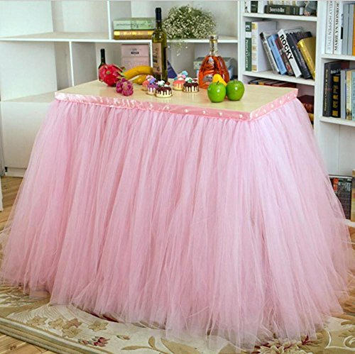 Tisch Schminktisch Rock Tüll Wonderland Tischdecke für Party Tisch Abdeckungen Baby Dusche Party Hochzeit Geburtstag Dekoration Home Decor Mädchen, 91,5x 80cm (1Stück)