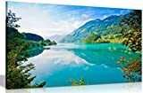 Leinwandbild, Motiv: See, Berge und Wälder, Leinwand, Wandkunst, Bilderdruck, A2 61x41 cm (24x16in)