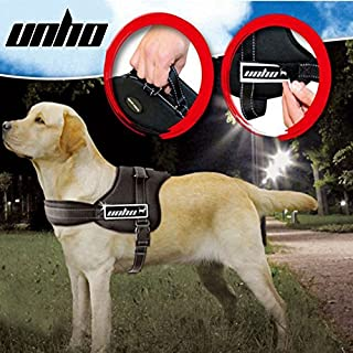 UNHO Soft Padded Dog Harness Adjustable No Pull Large Dog Power Harness - Heavy Duty Big Dogs Assistance Chest from 50-110cm Vary from Size XS-XL (XL)