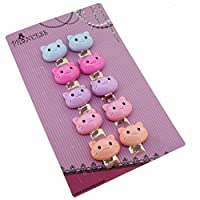 Princess-J Candy Color Cartoon Cat Clip-On Earrings for Kids Children Teen Girls Birthday Party Gift, Pack of 5 Pairs