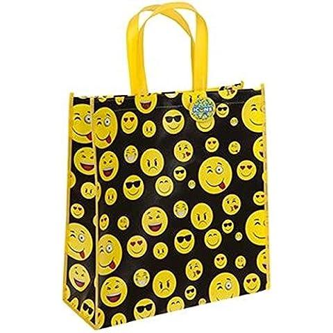 Funny Face Emoji Design Borsa Shopper Riutilizzabile laminato, 40cm x 38cm x 15cm