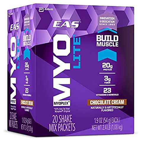 EAS Myoplex Lite Protein Shake Mix Packets, Chocolate Cream, 1.9 oz packets, 20 servings
