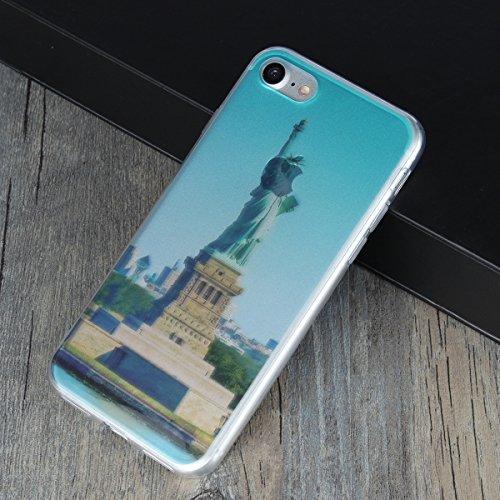 MOONCASE iPhone 7 Coque, Ultra Mince Motif Etui Souple TPU Silicone Antichoc Housse Case pour iPhone 7 (Montagne) Statue de la Liberté
