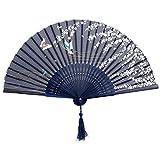 Abanico de mano - TOOGOO(R)de punta de bambu plegable oscuro mariposa azul y flor blanca azul marino