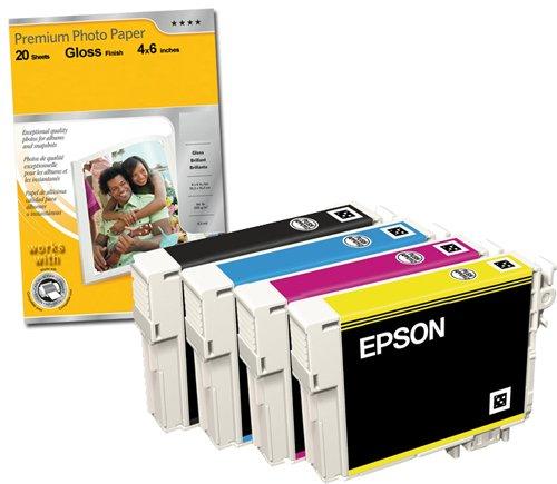 Epson - Multipack T1285 - Cartouche d'encre d'origine - S22 SX125 SX420W SX425W Office BX305F BX305FW ensemble complet T1281 T1282 T1283 T1284 Claria multipack cartouches d'encre - lâche emballés 1 x 4 dans chaque pack + Premium Glossy Photo Papier - 4x6 - 20 feuilles