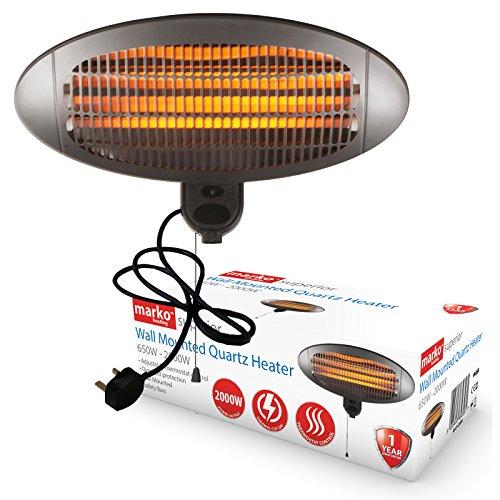 Marko Heating 2KW Quartz Patio Heater Outdoor Electric Garden BBQ 3 Heat Settings Pull Cord IPX4 Waterproof (Wall Mounted)