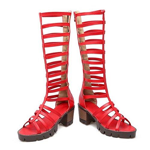 Femmes Sandales spatiales à talons bloc bottes hauteur genou taille disponible 34-43 Rouge