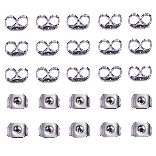 Lot de 200 Poussoirs A Clou d'Oreilles en Acier Inoxydable 5x3,5x2mm