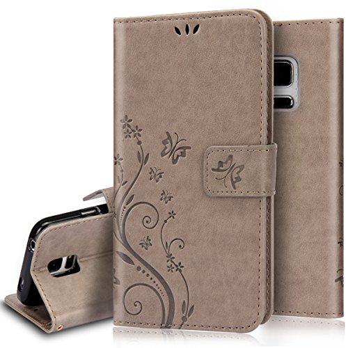 Ukayfe cover per samsung galaxy s5e s5neo,a portafoglio in pelle pu convertibile in supporto per telefono decorazione con motivo di farfalla a rilievo,con slot per carte di credito