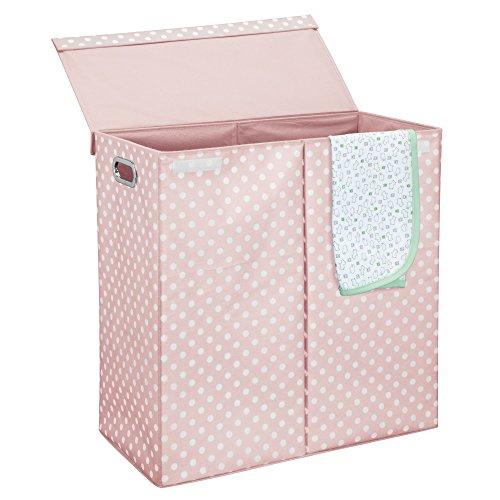 Mdesign cesto portabiancheria con coperchio – cesto panni sporchi pieghevole – porta biancheria a due scomparti con manici – realizzato in fibra sintetica e metallo – rosa chiaro/bianco