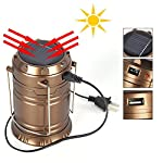 Solar PORTABLE FOLDING LIGHT cum torch HAS A USB CHARGING PORT CAN CHARGE WITH SOLAR POWER OR ELECTRICITY NEATLY FOLDS, AND STARTS AUTOMATICALLY ON UNFOLDING IT Retractable Solar Camping Lantern Lamp,6 LED Solar Camping lamp Outdoor Lighting Portable...