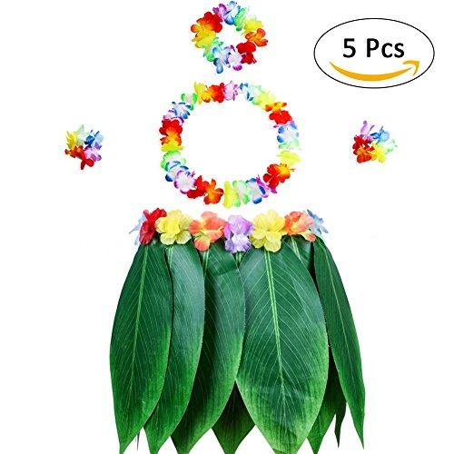 Hawaiianische Luau-Flügelrocke, Kostüm-Set, elastischer Luaurock und Hawaiianisches Blumen-Armband, Haarband, Halskette für Partys (Hawaiianische Kostüm)
