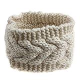 Fletion - bandana de punto, para mujer, de invierno, cálida, sirve como orejeras y gorro, color beige, tamaño Talla única
