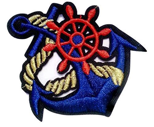 b2see Aufnäher Iron on Patches für Jacken Jeans Kleidung Aufbügler Wappen Applikation Stickerei Marine Maritim Anker groß Rot Blau 8 x 7,3 cm