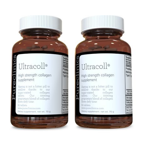 UltraColl Marine Collagen 1000mg x 360 tablets (2 bottles of 180 tablets - 3 months supply). The only patented anti-aging collagen types I, II, III, and VII. SKU: UC3x2