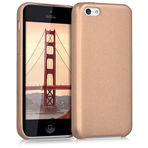 kwmobile Funda para Apple iPhone 5C - Case para Móvil en Cuero sintético - Carcasa Trasera en Oro Rosa