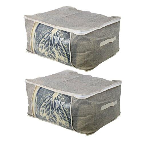 2er Set Unterbettkommode Aufbewahrungstasche aus Stoff für Bettdecken, Kissen, Skibekleidung, Sommer- und Winterbekleidung . - Aufbewahrungsbox, Unterbettbox, Betttasche groß, Bett Stauraum (60 x 45 x 30 cm)