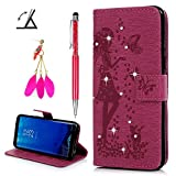 S8 Case,Badalink Bling Sparkly Diamonds PU Leather Wallet Flip Case with Detachable Hand Strap Butterfly Girl Embossing Kickstand Function Card Holder Slots Protective Skin Cover for Samsung Galaxy S8(Rose red)