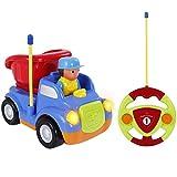SGILE Ferngesteuertes Spielzeugauto, RC Lastwagen, Cartoon Ingenieurfahrzeug, Spielzeug Geschenk für Kleinkinder und Kinder Kindergeschenk Blau