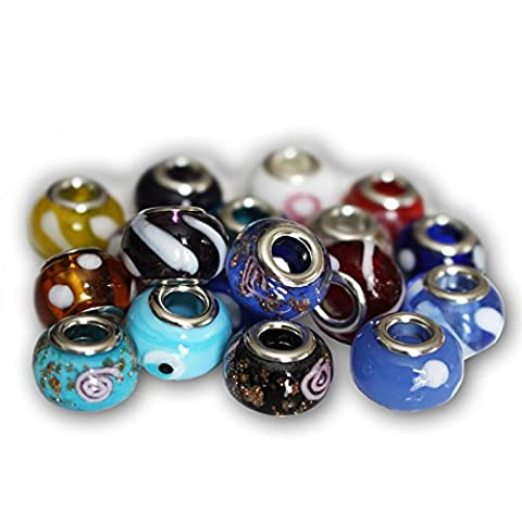 Pack of 50 Murano-Style Glass Blown Beads Charms Findings for Jewellery Bracelets Necklaces by Kurtzy