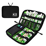 Computers Accessories Best Deals - Visenta Cable Organizer Case Portable Case Easy Universal Carry Travel Organizer Bag Electronics Accessories Bag Phone Charger Case for Electronic Computer Cell Phone iPad Accessories USB Cables Power Banks Hard Disk (BlackSML)