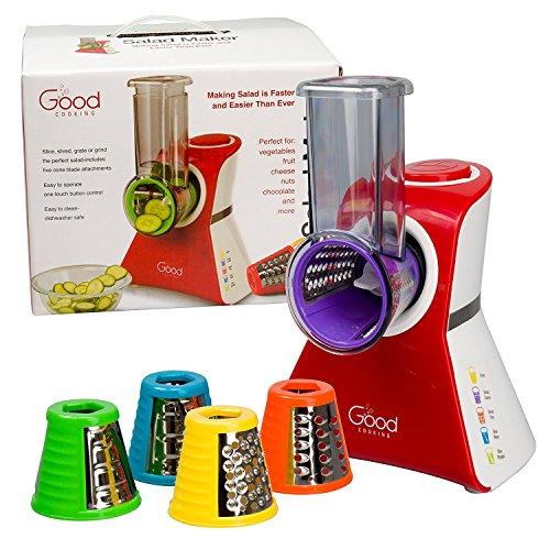 Good Cooking Trituradora de Fabricante de Ensalada eléctrico, cortadora, picadora y Disparar con Control OneTouch y 5 Accesorios Gratis