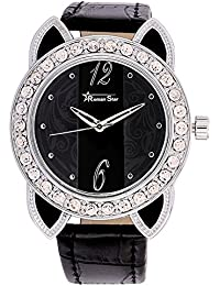 Roman Star Women's N-RS29_06 Silver Coloured With Black Leather Strap Analog Quartz Watch