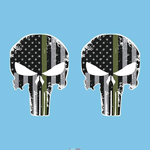Autodomy Pegatinas Punisher Calavera Estados Unidos Pack 2 Unidades para Coche o...