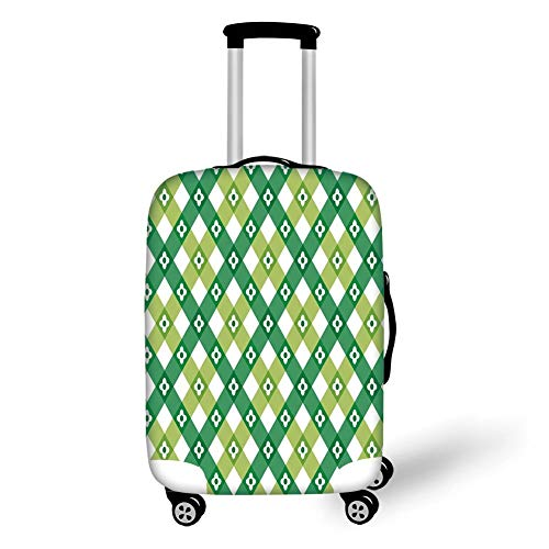 Travel Luggage Cover Suitcase Protector,Floral,Striped Retro Flower Motif with Cross Line Groovy Old Fashion Print,Forest and Lime Green White,for Travel,M Groovy Girls Club