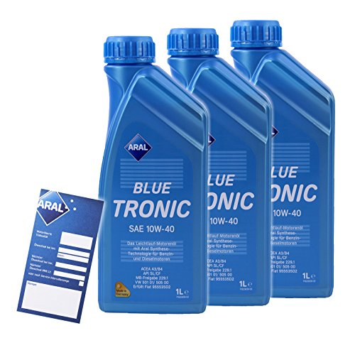 3x 1 L LITER ARAL BLUETRONIC BLUE TRONIC 10W-40 MOTOR-ÖL MOTOREN-ÖL 32007140