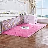 tappeti In Finta Pelle di Pecora Soffice Pelliccia di Agnello Pelliccia Morbida Finta Pelosi Pecora Agnello Camera da Letto Soggiorno,Pink-120x200cm/3.9x6.5ft