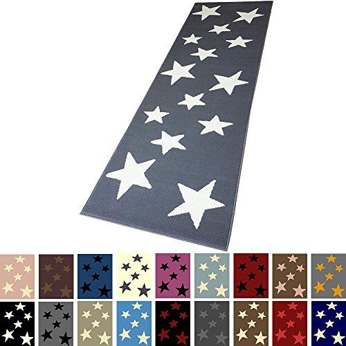Moderner Läufer Teppich Brücke Teppichläufer Sterne Stars ca. 80x250 cm, Größe:80x250 cm, Farbe:grau/Creme